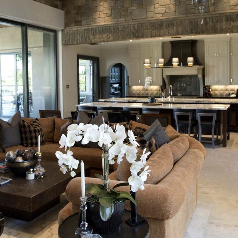 large open kitchen and living room with brown couch