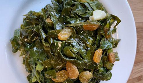 Sautéed Collard Greens with Golden Raisins