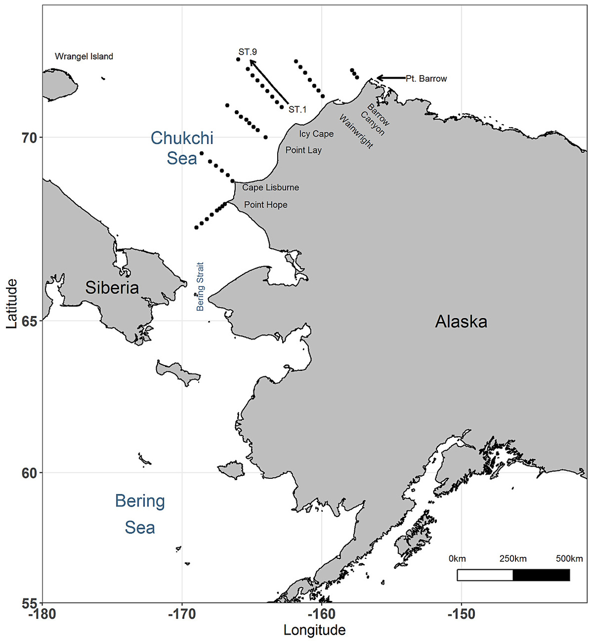 Study area in the Chukchi Sea. Black dots represent zooplankton sampling stations.