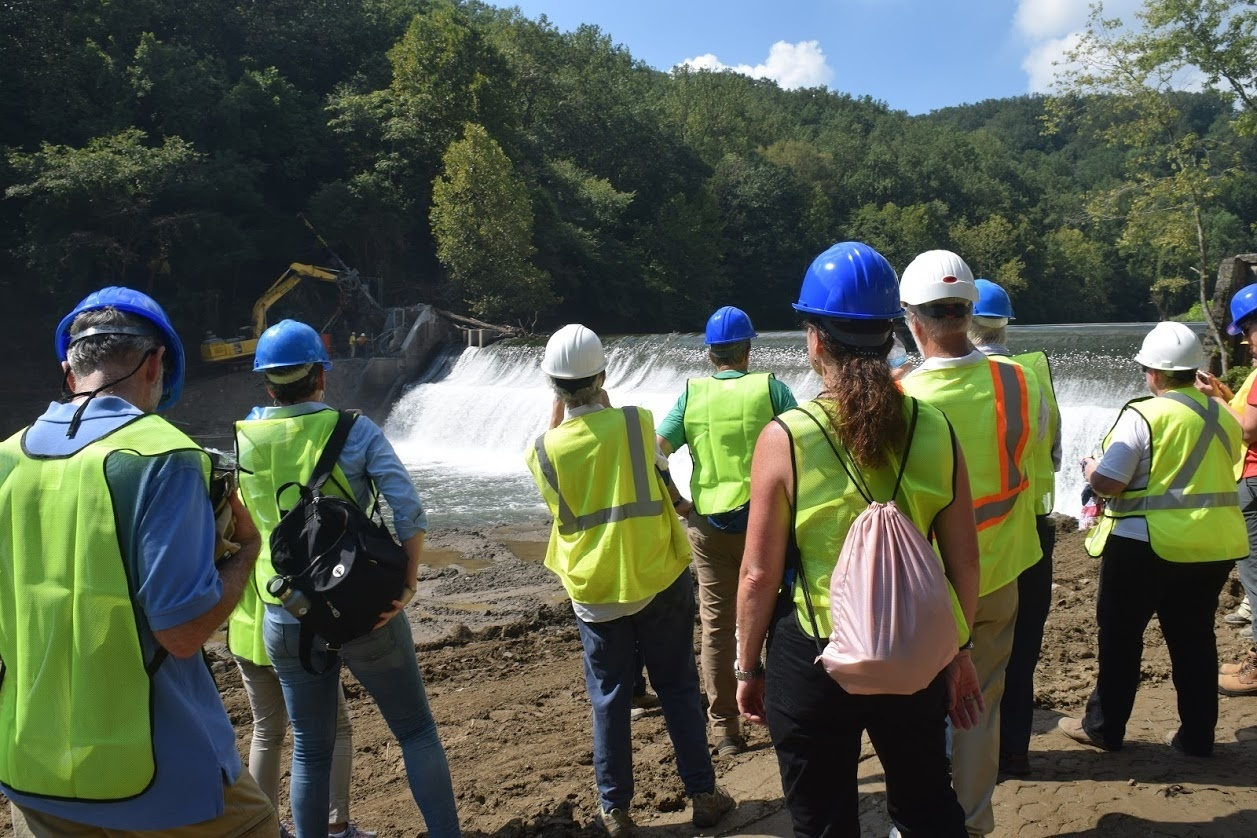 Partners and members of the media watch preparation of Bloede Dam for removal..JPG