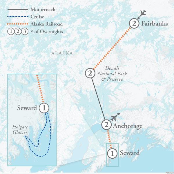 Tour Map for Alaska Trains & Kenai Fjords