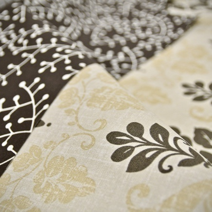 Close up of floral shading fabric samples