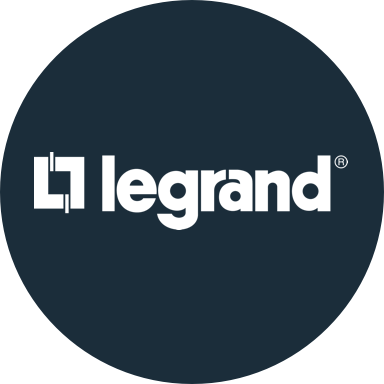 Legrand circular logo with navy background
