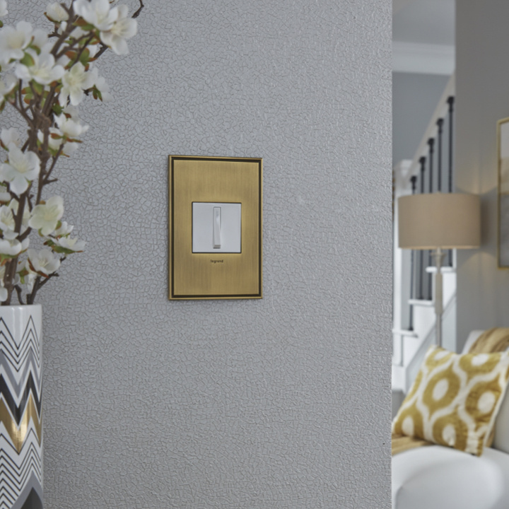 White adorne whisper switch with brass wall plate in modern home