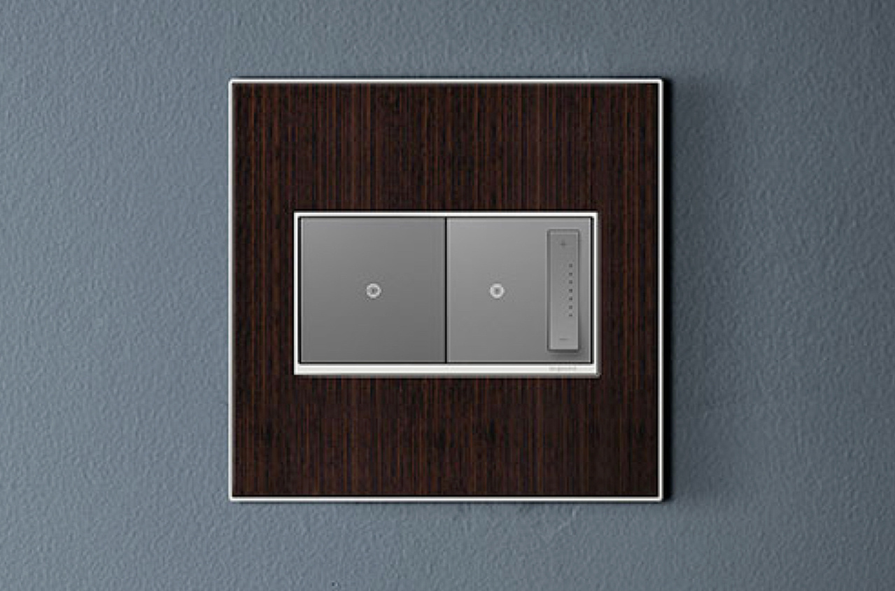 adorne rf Lighting dimmer and switch with sleek wall plate