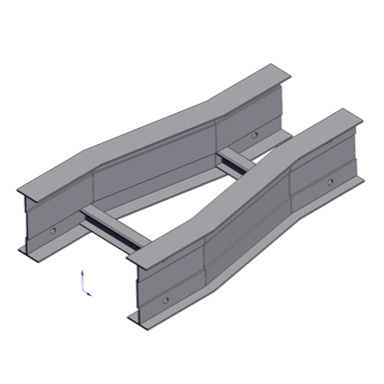 Cable tray 3D rendering of metallic horizontal fitting reducer straight section