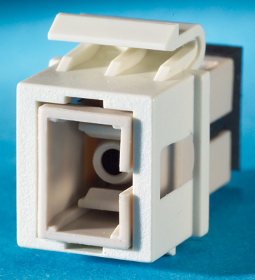 1-SC fiber Keystone module, simplex, multimode, phosphor-bronze alignment sleeves, 180 degree exit, fog white, OR-KSSC