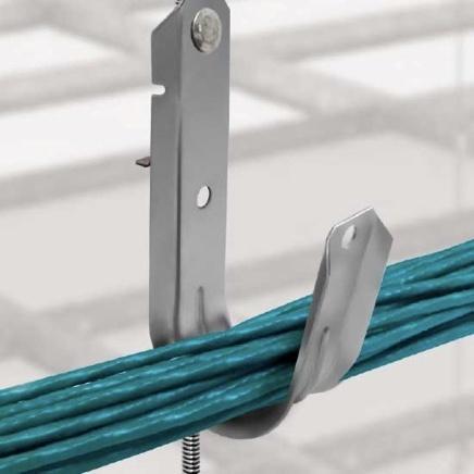 J-hook fastener holding blue cables