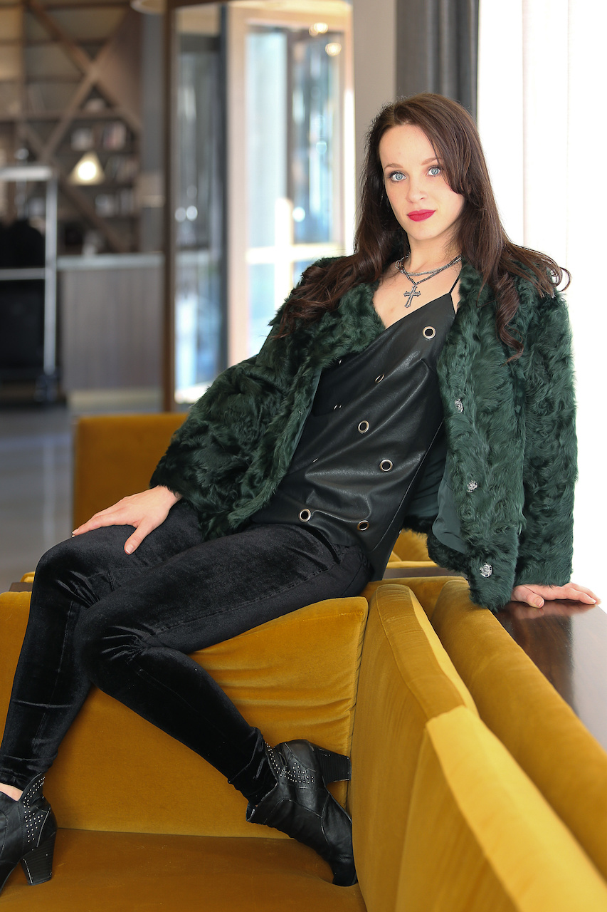 Velvet leggings, leather top, and a fur?? What's not to love!