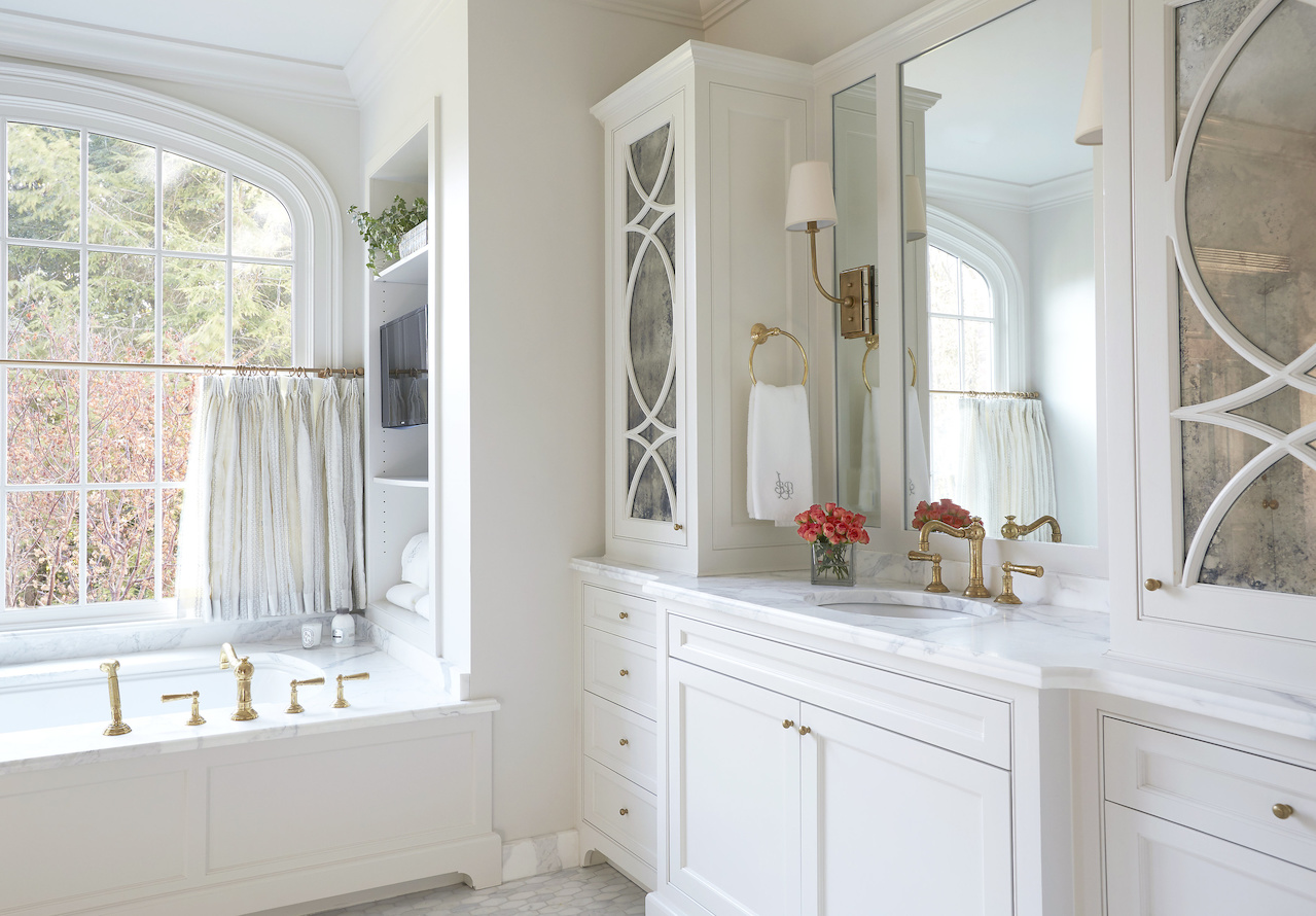 """""""Everything about this bathroom is just so peaceful and serene,"""" says Libby."""