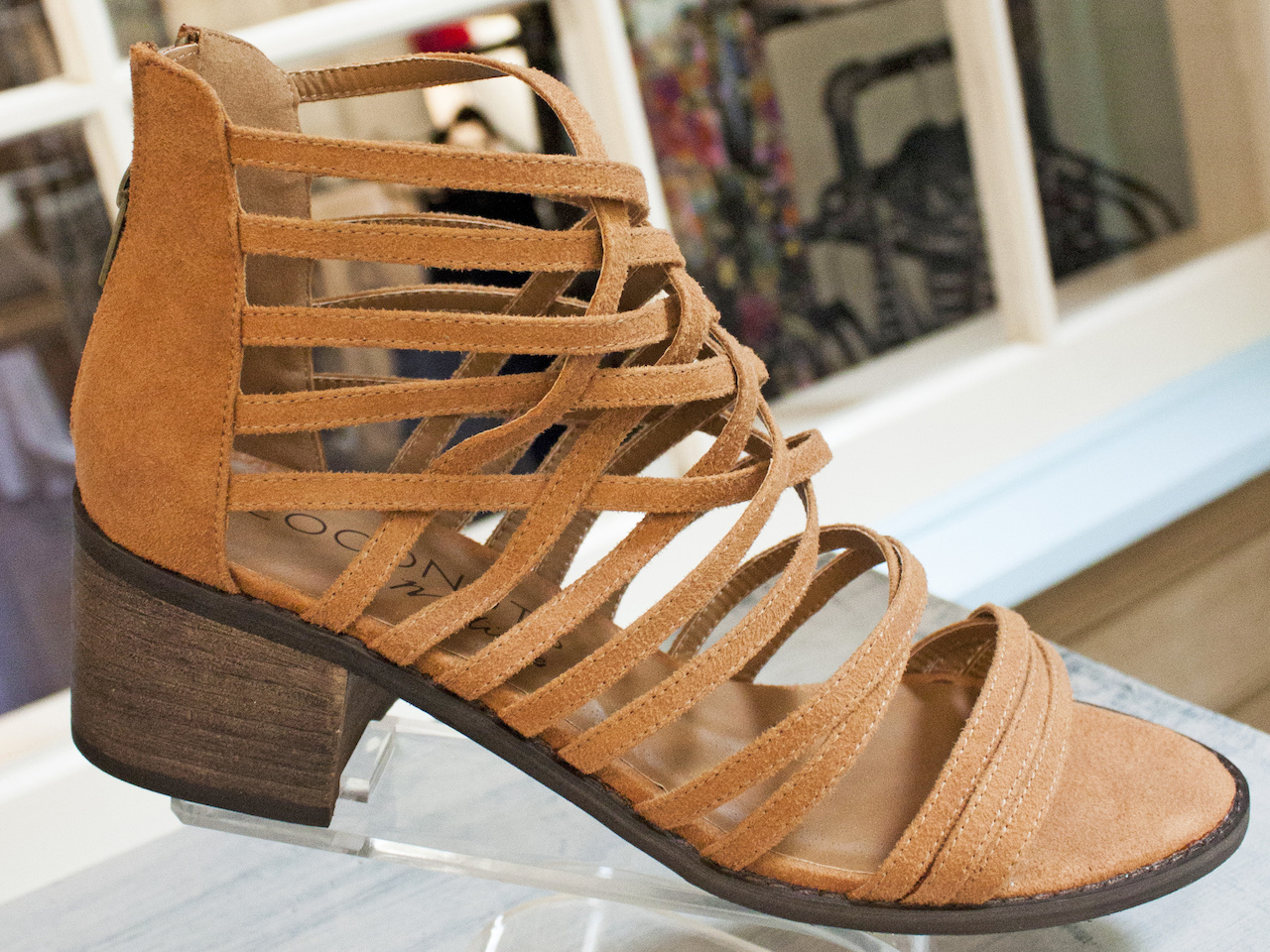 Boho chic: Strappy suede heels, $79, at More Therapy.