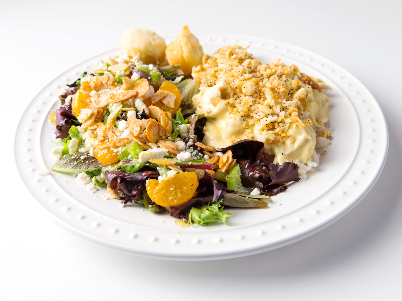 Pictured here are Ashley Mac's poppyseed chicken, $42.49 for a large (serves 8-10); Mandarin orange salad, $24.99 for a large (serves 8-10); and sour cream biscuits, $6.99 for a baker's dozen. And check out Ashley Mac's Gourmet To-Go menu online. To guarantee availability, place your order 48 hours ahead of your desired pick-up date.