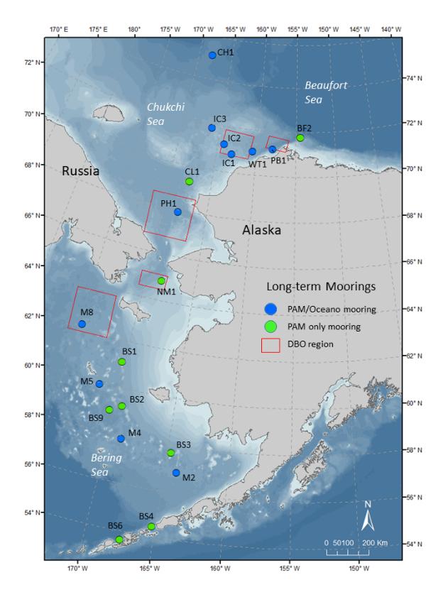 Map of Long-term Moorings in the Bering, Chukchi, and Beaufort Seas.