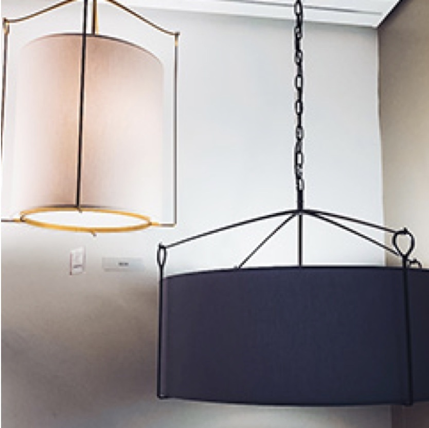 Two hanging lamp shades