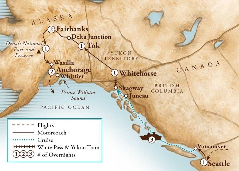 Tour Map for Alaska Agriculture & Inside Passage Cruise