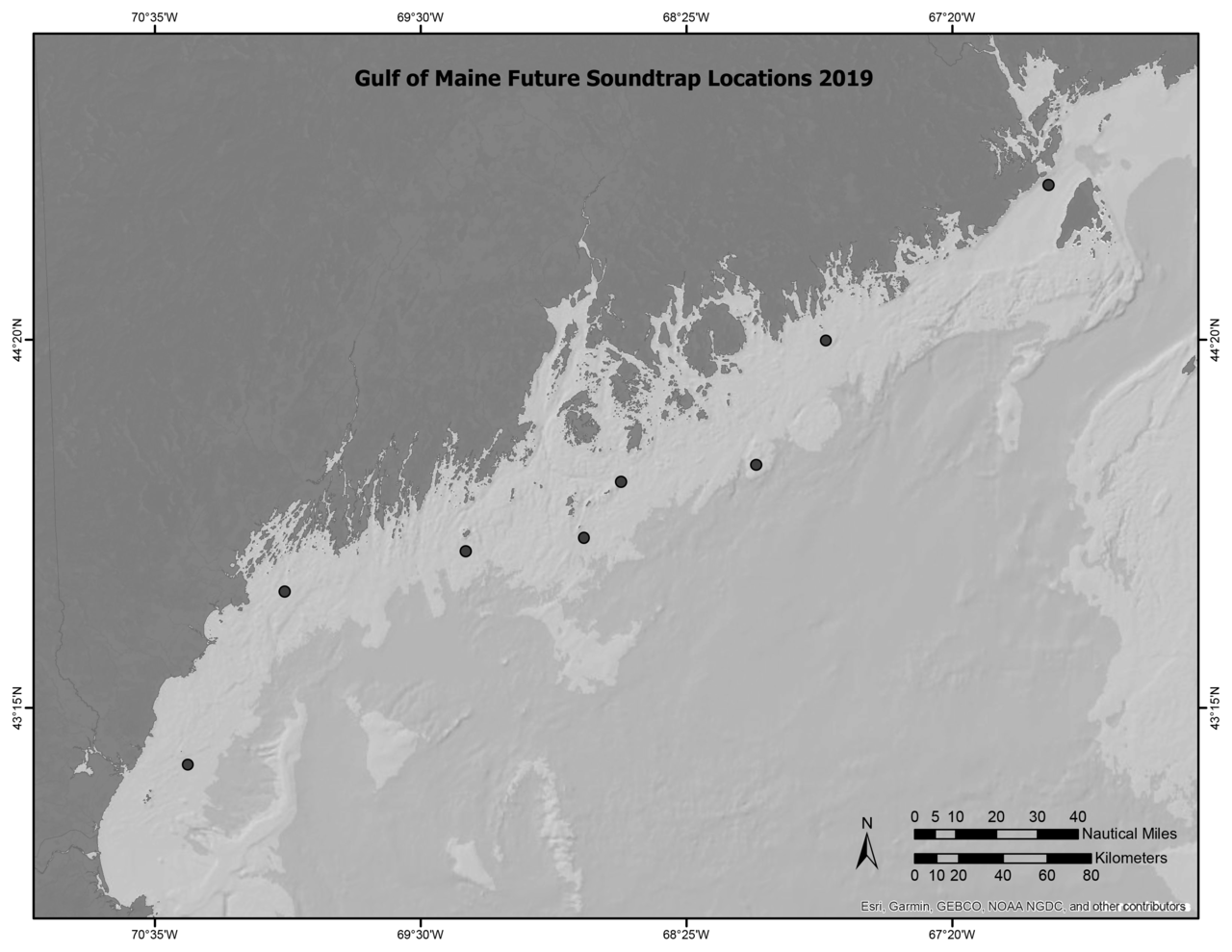 map showing locations along Maine coast for acoustic receivers