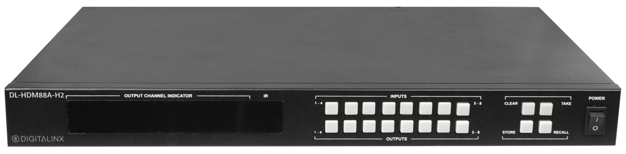 DL-HDM88A-H2 - 8x8 HDMI 2.0 18G 4K/HDR Matrix Switch w/Audio De-Embed