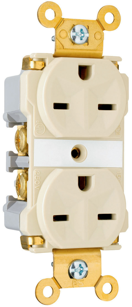 Industrial Extra Heavy-Duty Spec Grade Receptacles, Back & Side Wire, 15A, 250V, Gray