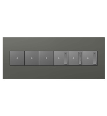 adorne 6-Gang Moss Grey Wall Plate