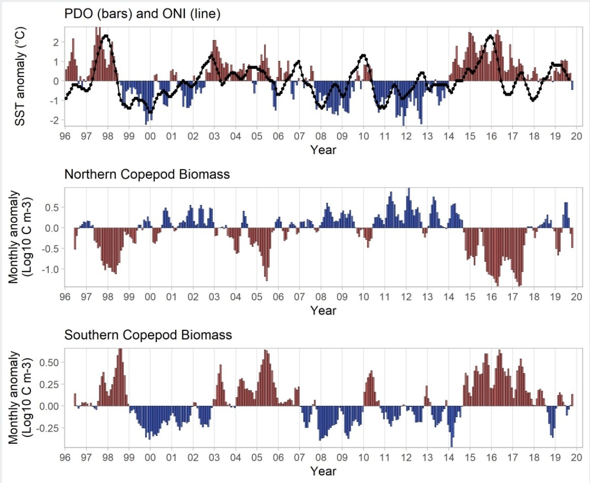 Figure NSC-01. The Pacific Decadal Oscillation (upper), and monthly biomass anomalies of the northern (middle) and southern (lower) copepod taxa from 1969 to present. Biomass values are log base-10 in units of mg carbon m–3..jpg