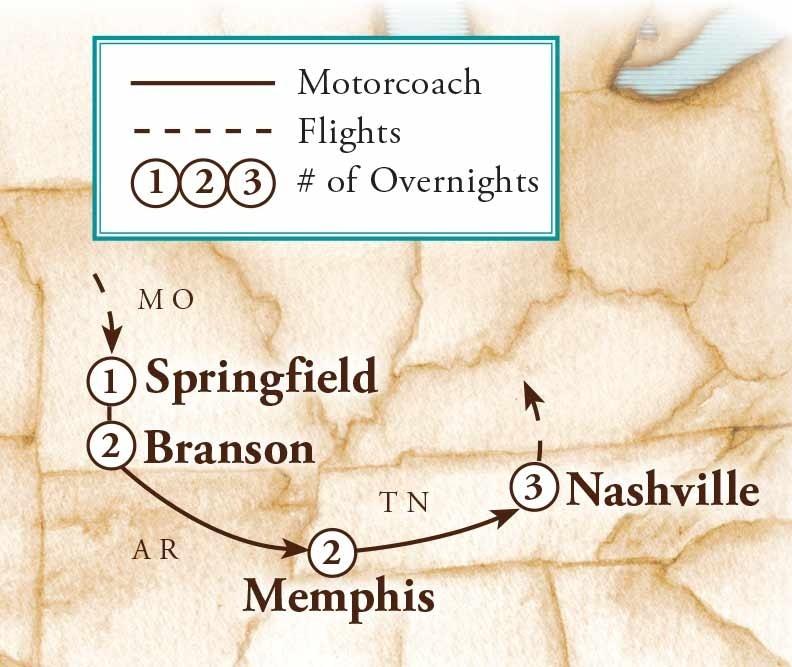 Tour Map for Melodies of Branson, Nashville & Memphis