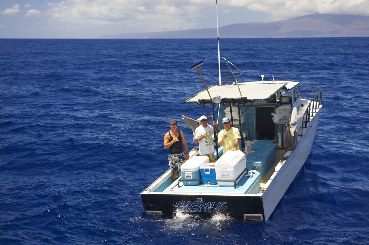 Cooperative Research Fishermen aboard the F/V Naomi K supporting the BFISH Main Hawaiian Islands Bottomfish Survey off of Maui.