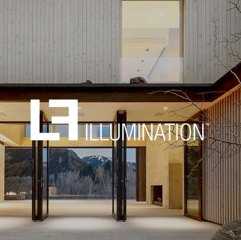 Exterior of home with mountains in the background and the LF Illumination logo in the foreground