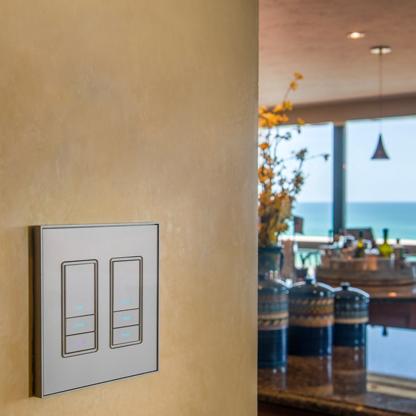 Lighting control panel on kitchen wall