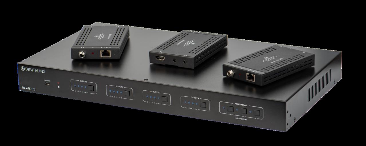 DL-44E-H2-KIT - Digitalinx 4X4 HDMI 2.0 / HDBaseT Matrix Switch Kit