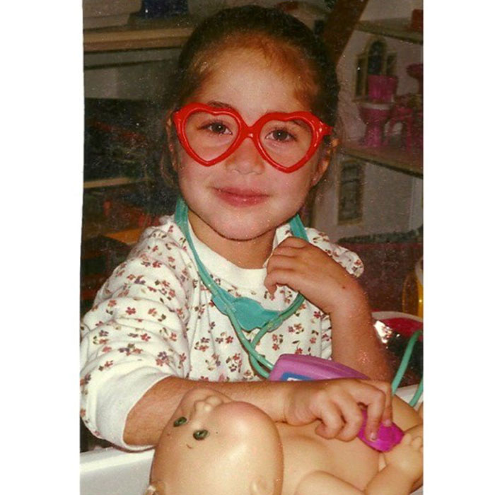 """Gianna (age 3 years) """"being a doctor"""" at NewYork-Presbyterian Morgan Stanley Children's Hospital in 1995."""