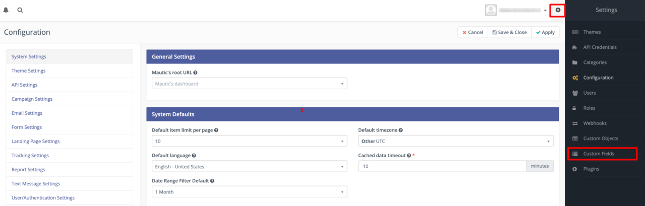 Accessing the custom fields page