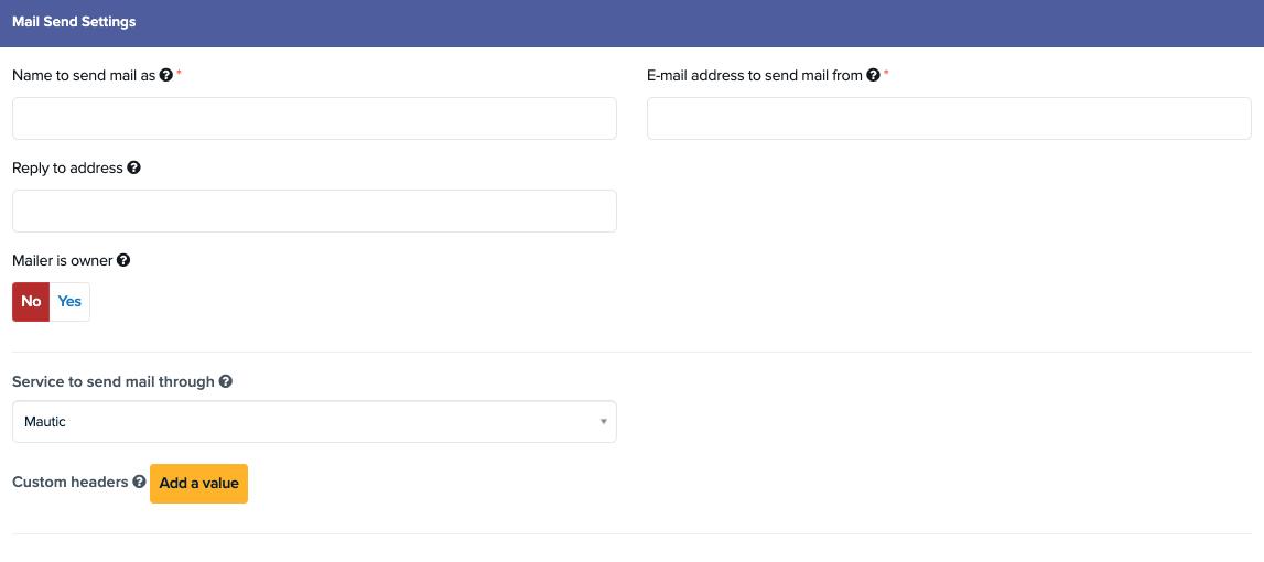 Email Settings - Mail Send Settings