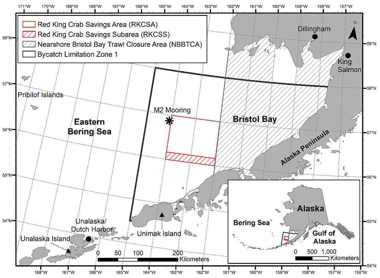 Bristol Bay red king crab occur north of the Alaska Peninsula, primarily within the area outlined in black.  The red box and gray lined areas are closed to bottom trawling to protect red king crab.