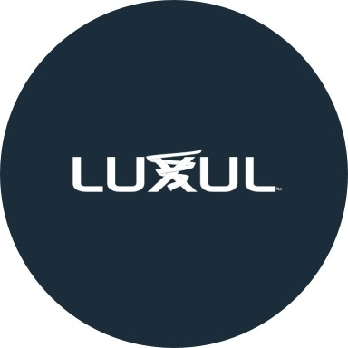 Luxul logo with navy blue background