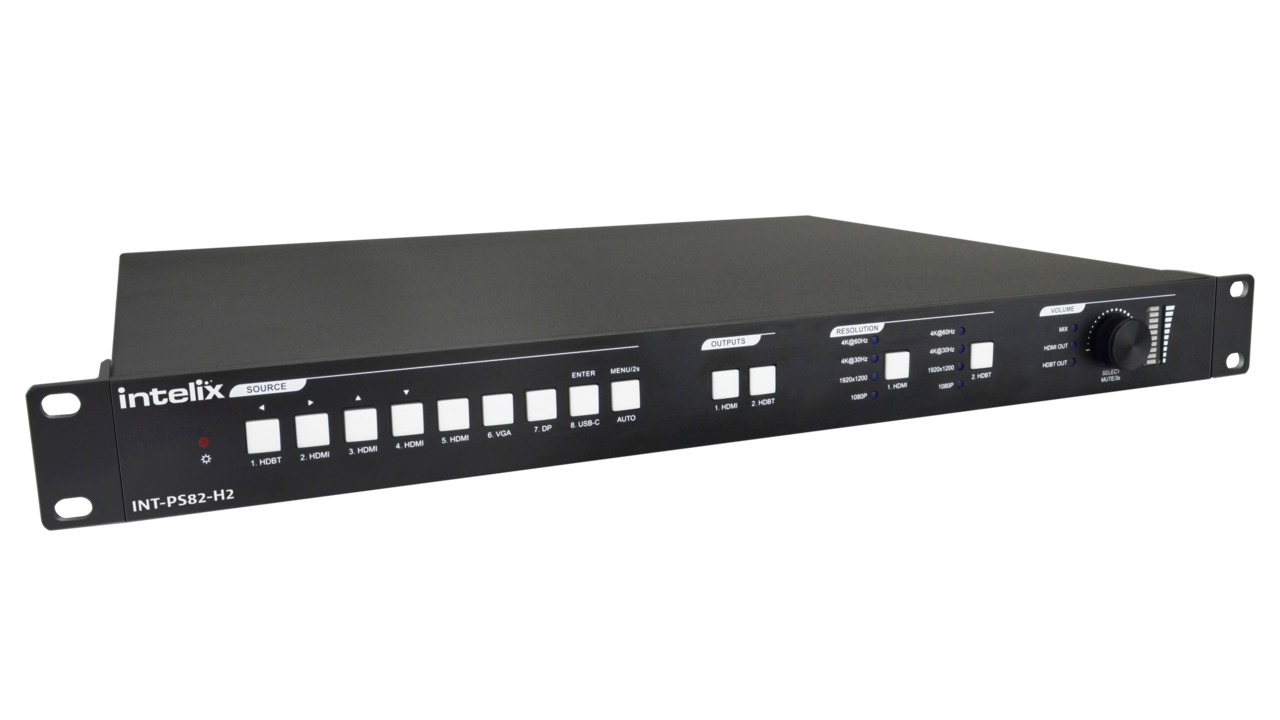 INT-PS82-H2 - 8x2 HDMI 2.0 Seamless Presentation Matrix Switcher with HDBaseT Input and Output with Included 18G HDBaseT Receiver
