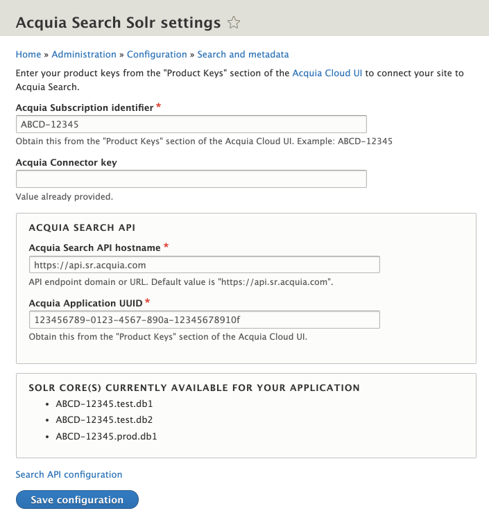 List of available Search cores for your application