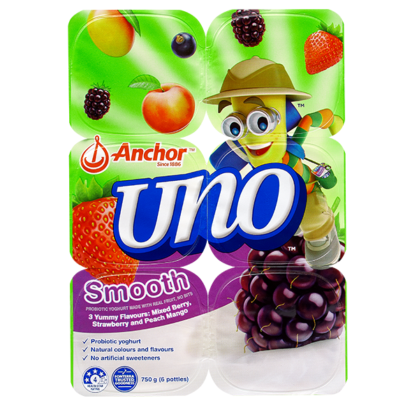 Anchor Uno Mixed Berry, Strawberry & Peach Mango Yoghurt  6 x 150g