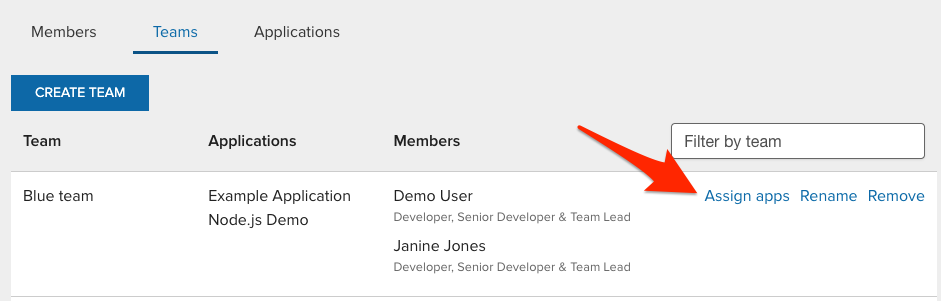 Assign apps link