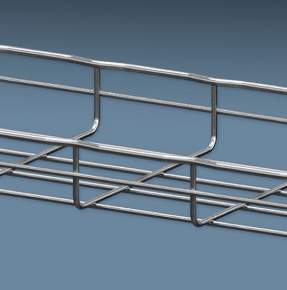 Wire mesh cable tray section BIM model against blue background
