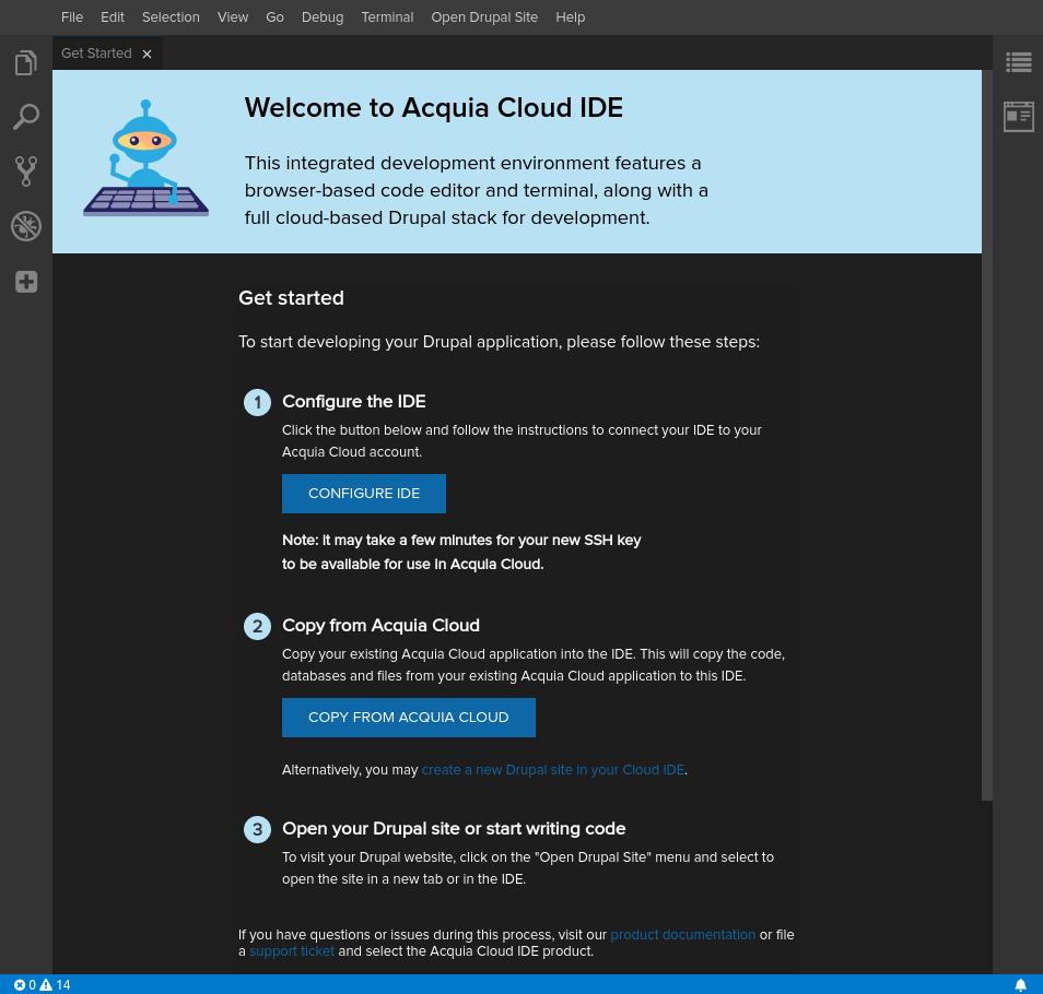 Cloud Platform IDE Get Started page