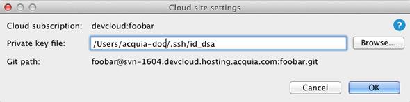 Enter private key file location
