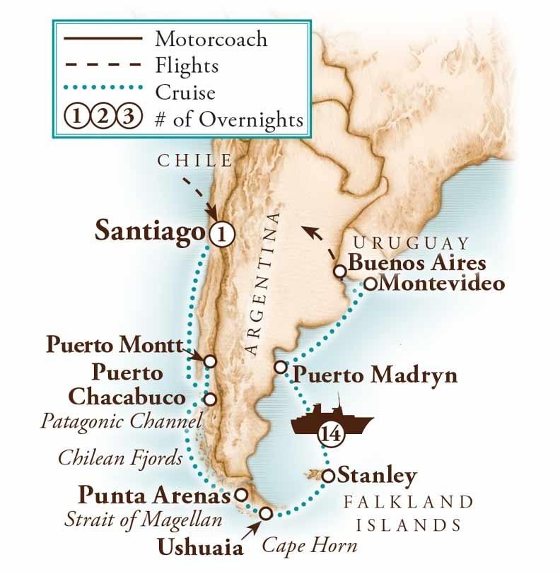 Tour Map for Chilean Fjords & Strait of Magellan