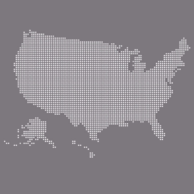 Image of United States map on grey background