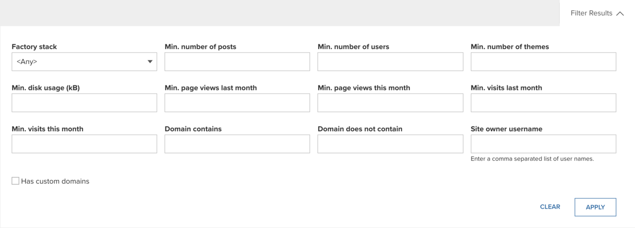 Filter results section