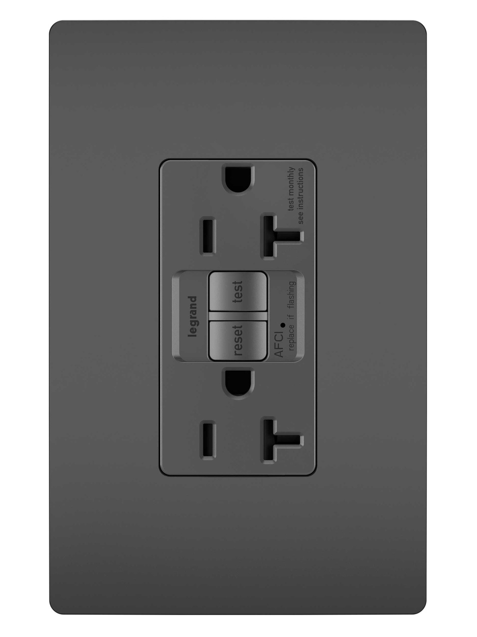 Tamper-Resistant 20A Outlet Branch Circuit AFCI Receptacle, Black
