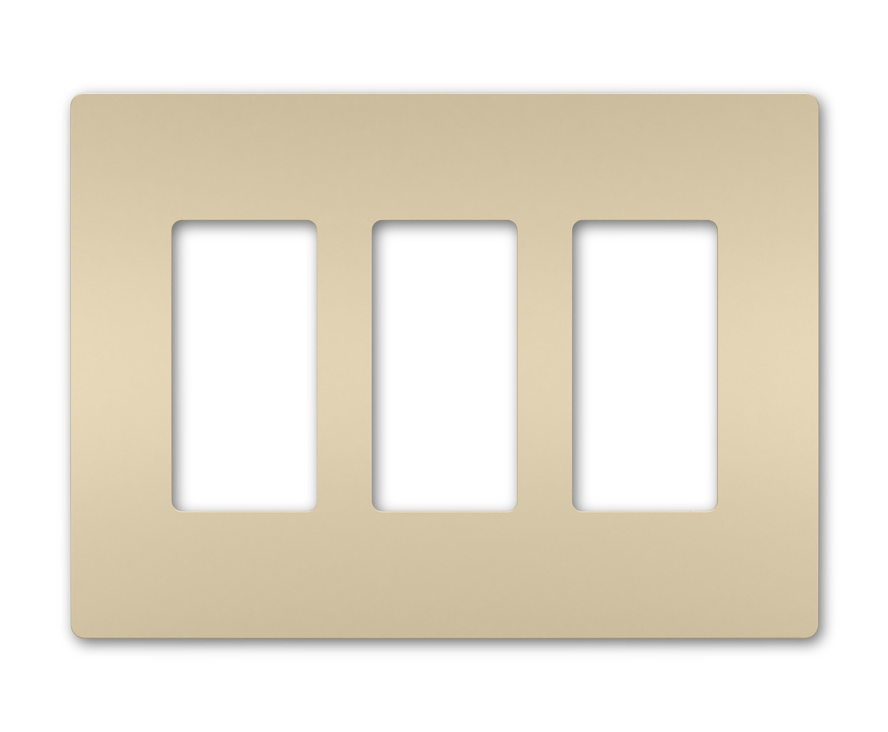Three-Gang Screwless Wall Plate, Ivory