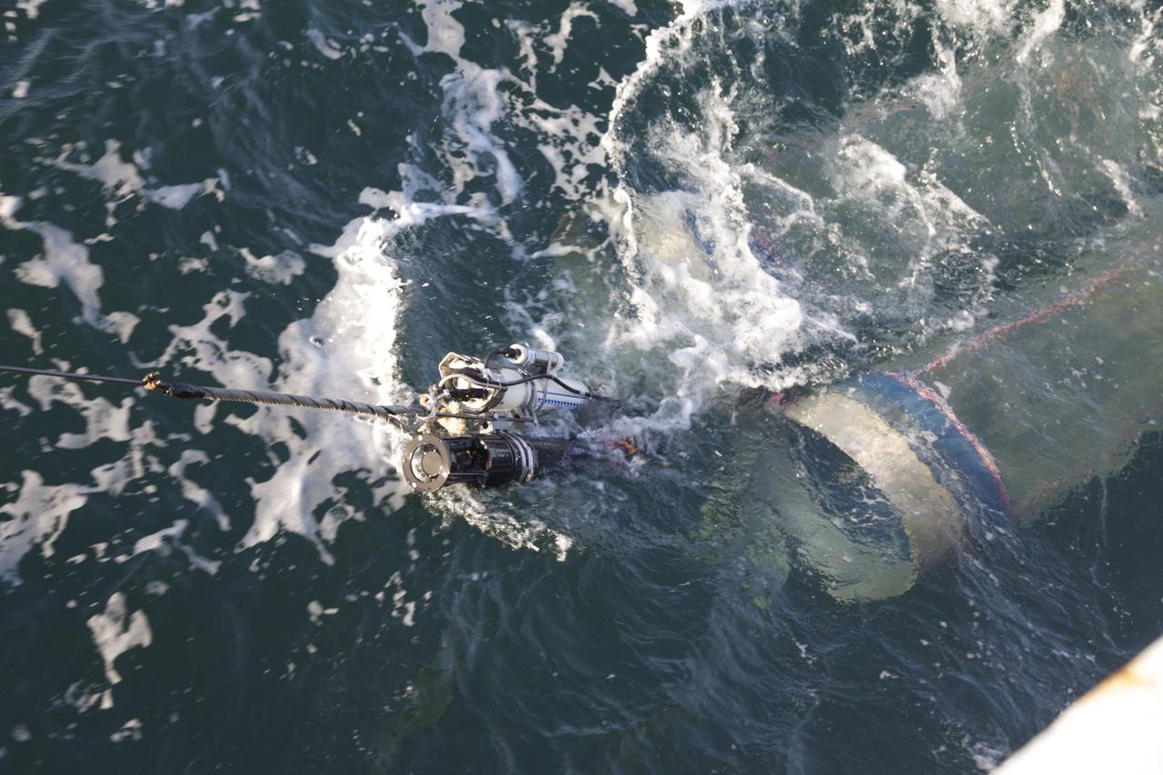 bongo nets being dragged through ocean
