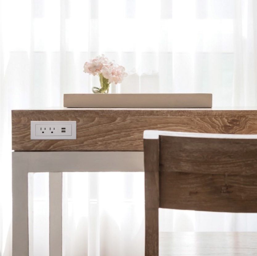 radiant Collection by Legrand white furniture power USB and standard outlets in hotel desk