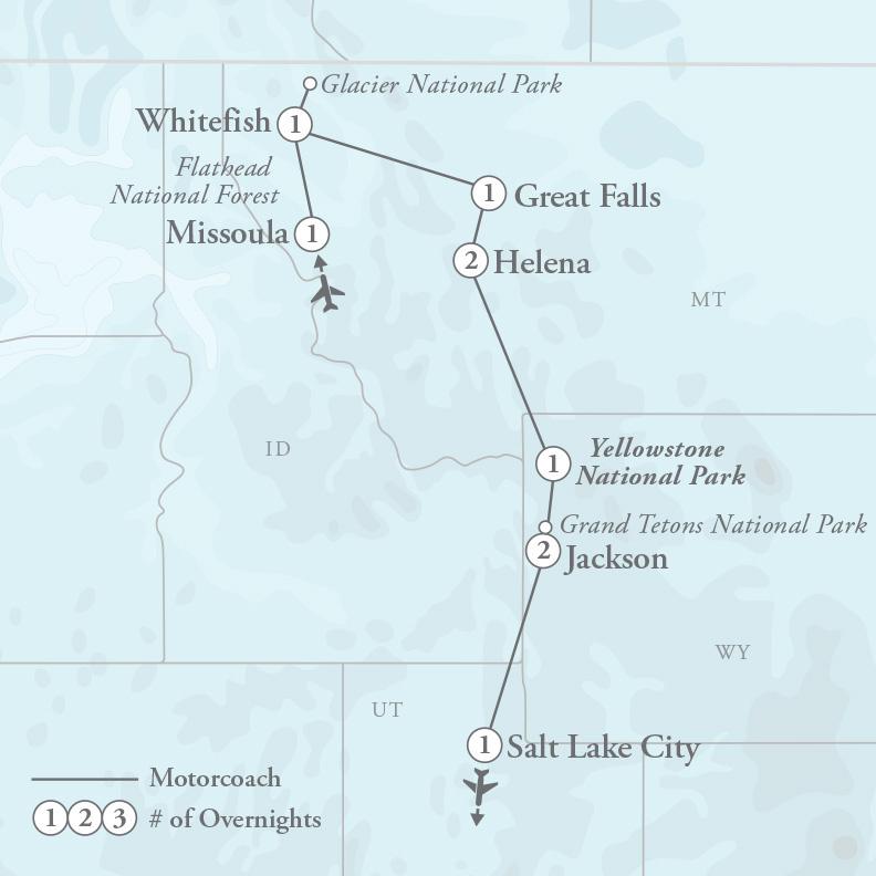 Tour Map for Glacier, Yellowstone & Grand Tetons