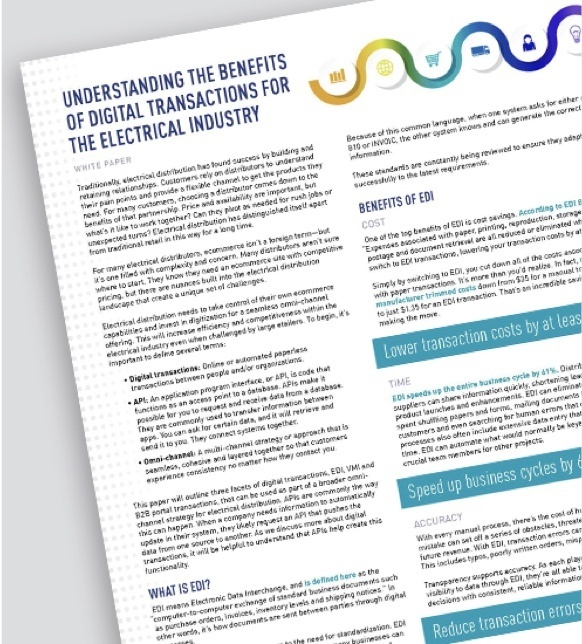 Page of resource on understanding benefits of digital transactions for the electrical industry
